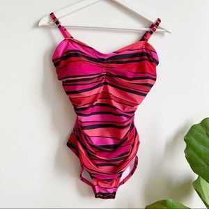 Speedo One Piece Swimsuit Ruched Multicolor 8